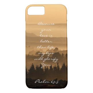 Psalm 63:3 Bible Verse Scenic Landscape Photo iPhone 7 Case