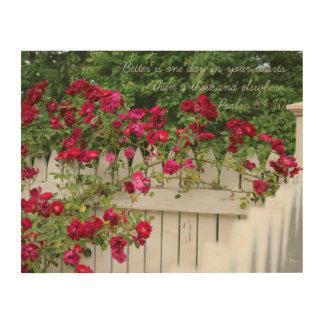 Psalm 84:10 Crimson Rosebud Arch Wood Wall Decor