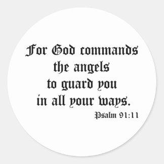 Psalm 91:11 round sticker