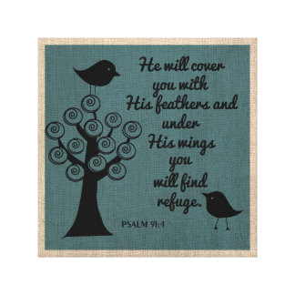 Psalm 91:4  Weapped Canvas Gallery Wrap Canvas