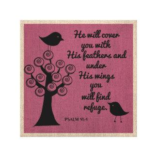 Psalm 91:4  Wrapped Canvas Canvas Prints