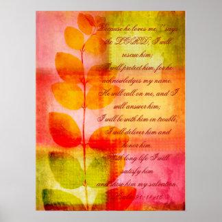 Psalm 91 grunge autumnal design wall poster