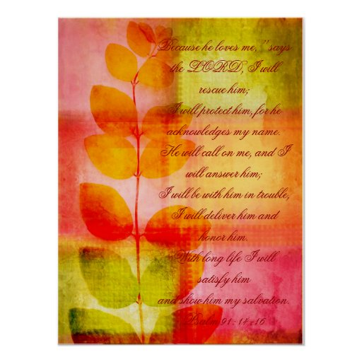 Psalm 91, grunge autumnal design wall poster