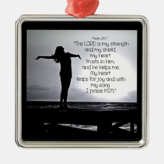 Psalm Lord is my Strength Bible Quote Black Grey Silver-Colored Square Decoration
