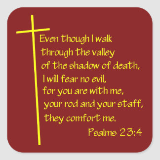 Psalms23-4 Yellow Square Stickers