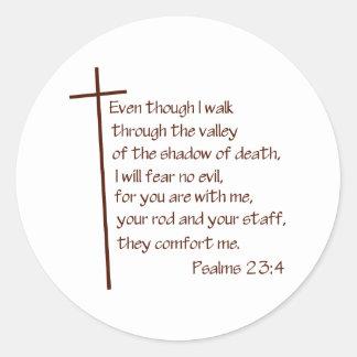 Psalms 23:4 classic round sticker