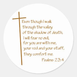 Psalms 23 4 round sticker