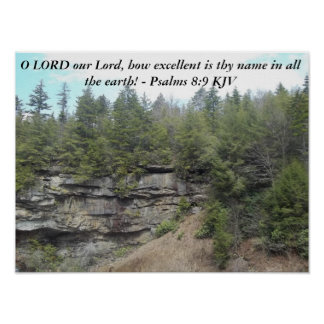 Psalms 8:9 Poster with beautiful mountain scenery