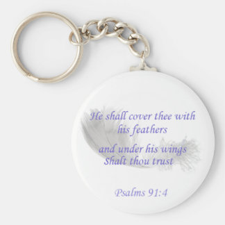 Psalms 91:4 He shall cover thee with his feathers Basic Round Button Key Ring