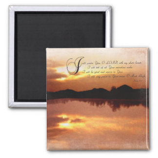 Psalms & Sunsets, Bible Verse Inspirationals Square Magnet