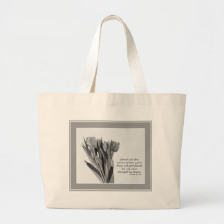 Psalms - Tulips on White Totebag Canvas Bags