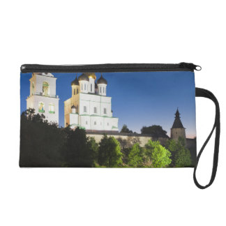 Pskov Kremlin and Trinity Cathedral reflected Wristlet Purses