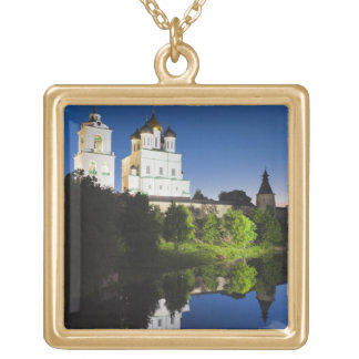 Pskov Kremlin and Trinity Cathedral reflected Gold Plated Necklace