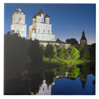 Pskov Kremlin and Trinity Cathedral reflected Large Square Tile