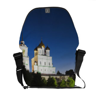 Pskov Kremlin and Trinity Cathedral reflected Courier Bag