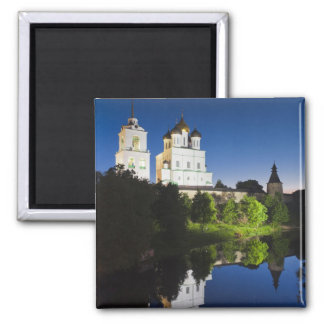 Pskov Kremlin and Trinity Cathedral reflected Square Magnet