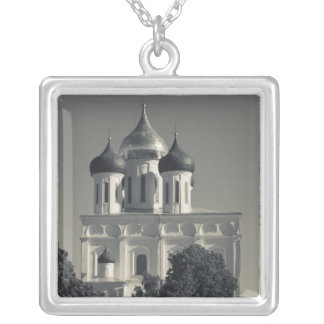 Pskov Kremlin and Trinity Cathedral Silver Plated Necklace