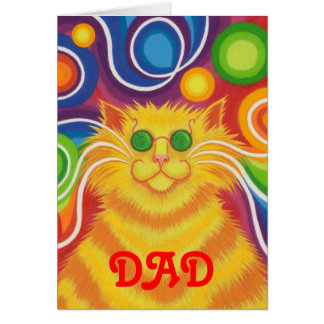 Psy-cat-delic 'Dad' 'groovy birthday' card