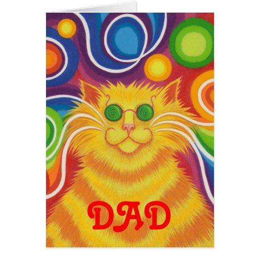 Psy-cat-delic 'Dad' 'groovy birthday' card