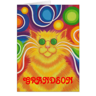 Psy-cat-delic 'Grandson' 'Groovy birthday' card