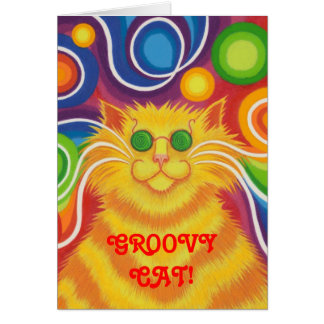 Psy-cat-delic 'Groovy Cat!' greetings card