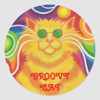 Psy-cat-delic 'Groovy Cat!' round sticker