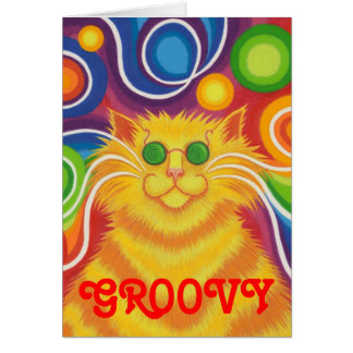 Psy-cat-delic 'Groovy' greetings card