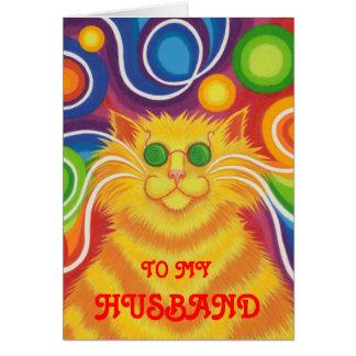 Psy-cat-delic 'Husband' 'groovy birthday' card