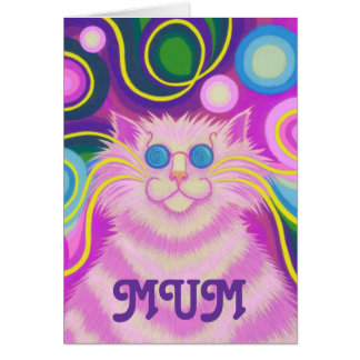 Psy-cat-delic 'MUM' 'groovy birthday' card