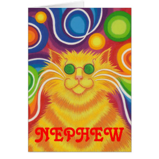 Psy-cat-delic 'Nephew' 'groovy birthday' card