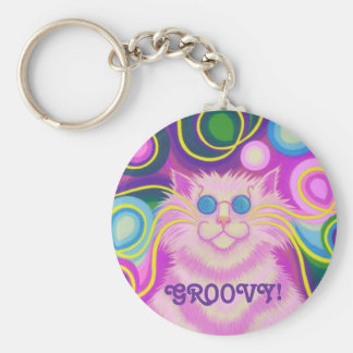 Psy-cat-delic Pink 'Groovy' keychain