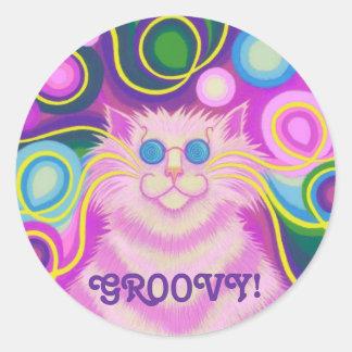 Psy-cat-delic Pink 'Groovy' round sticker