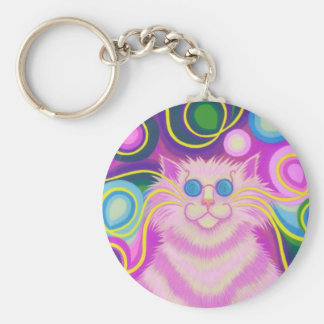 Psy-cat-delic Pink keychain
