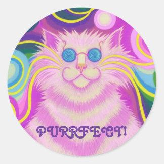 Psy-cat-delic Pink 'Purrfect!' round sticker