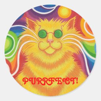 Psy-cat-delic 'Purrfect!' round sticker