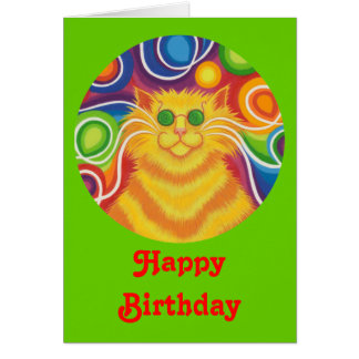 Psy-cat-delic round  'Happy Birthday' card green