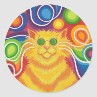 Psy-cat-delic round sticker