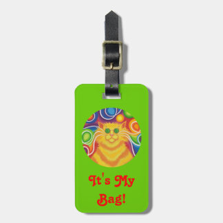 Psy-cat-delic Round 'text' tag green portrait