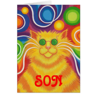 Psy-cat-delic 'Son' 'groovy birthday' card