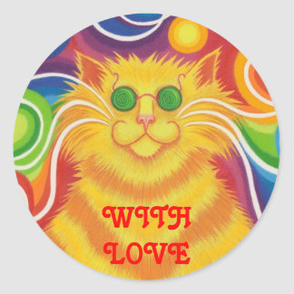 Psy-cat-delic 'With Love' round sticker