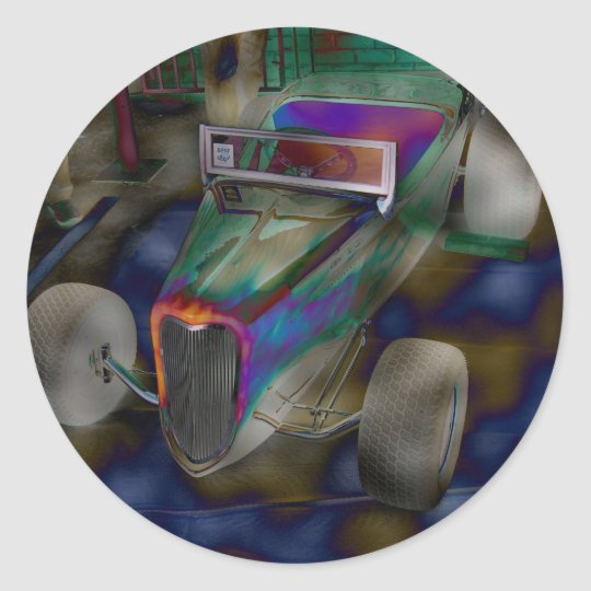 Psychadelic Antique Racing Car Classic Round Sticker