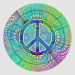 Psychadelic Peace Sign Round Stickers