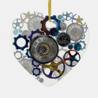 Psychadelic steampunk gears, cogs, clock face gift christmas ornament