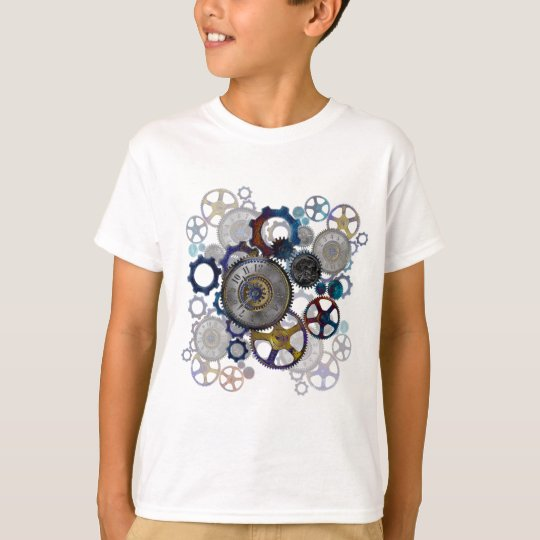 Psychadelic steampunk gears, cogs, clock face gift T-Shirt