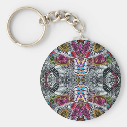 Psychedelic 2 basic round button key ring