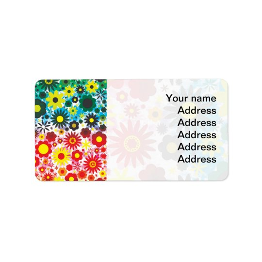 Psychedelic 60s Red Green Flowers Pattern Address Label