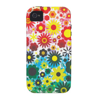 Psychedelic 60s Red Green Flowers Pattern Case-Mate iPhone 4 Case