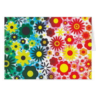 Psychedelic 60s Red Green Flowers Pattern Greeting Card