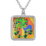 Psychedelic Abstract Bird Square Pendant Necklace