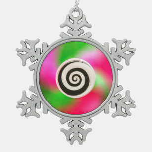 Psychedelic Abstract Hypnotic Snowflake Ornament